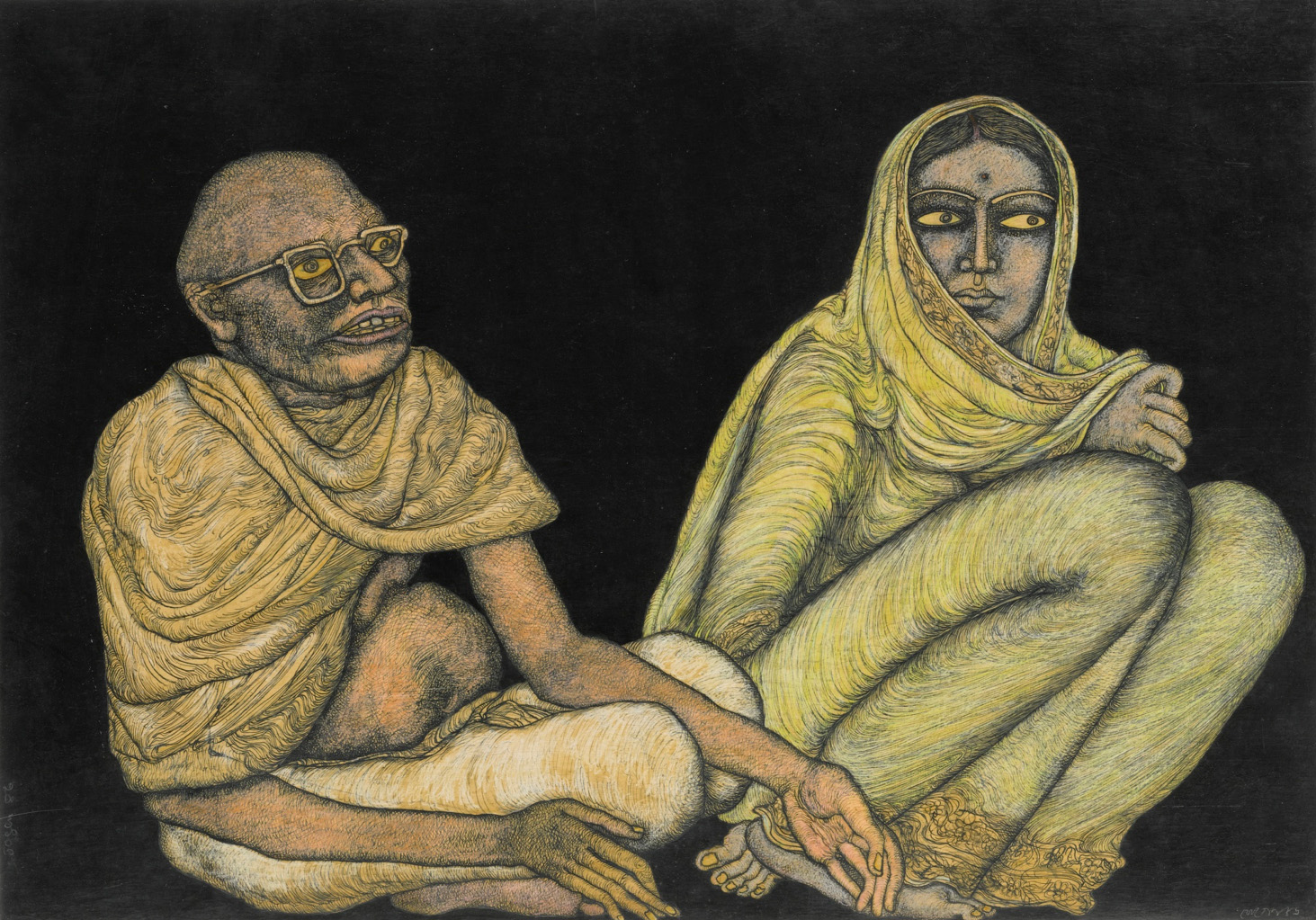 Jogen Chowdhury, Untitled (Couple No. 1, Man and Woman)